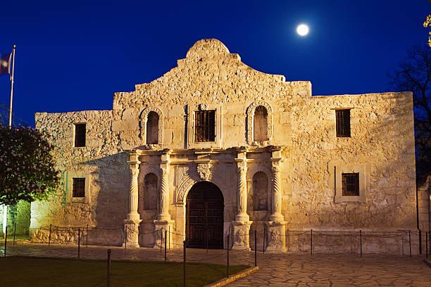 moon over alamo building facade, san antonio, texas - the alamo stock photos and pictures