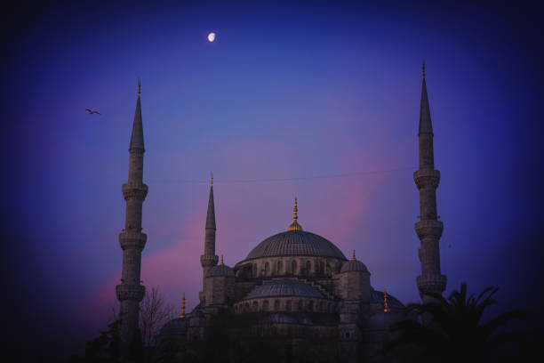 Moon Over Blue Mosque stock photo