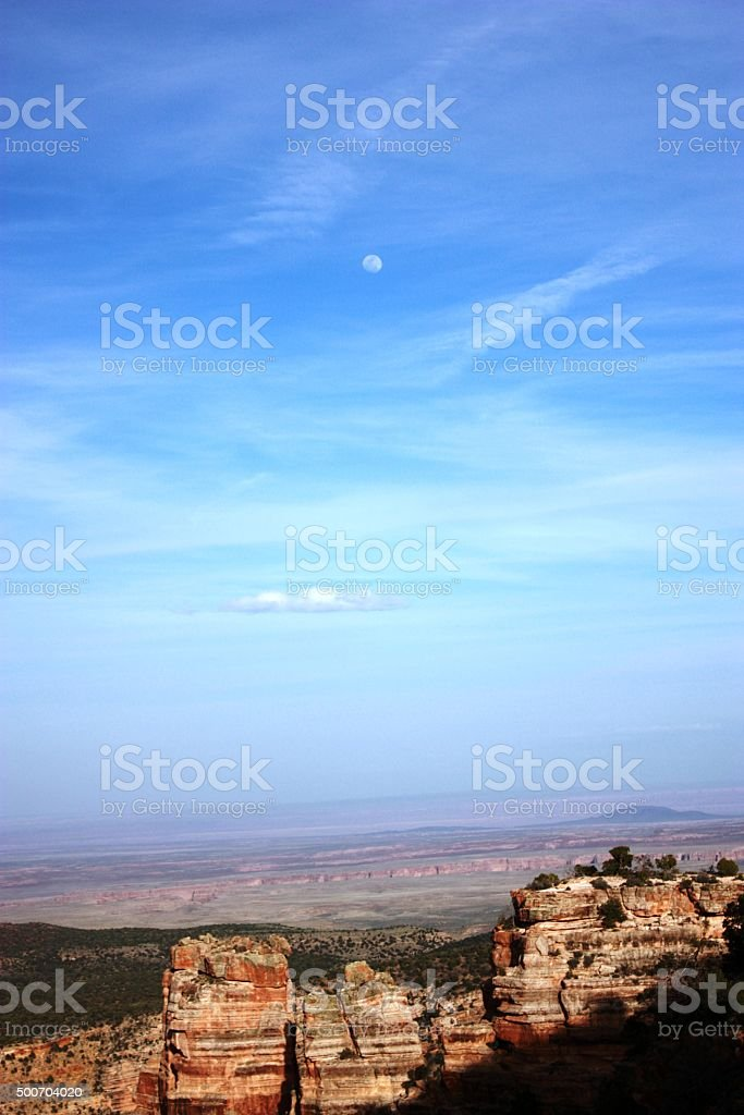 Moon over Desert View in Grand Canyon National Park, USA stock photo