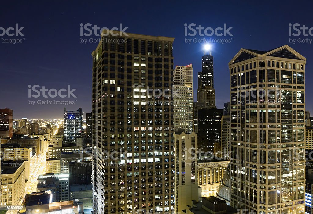 Moon Over Downtown Chicago at Night royalty-free stock photo