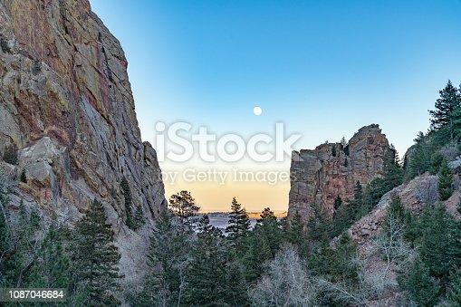 Moon rising over Eldorado Canyon State Park.  Eldorado Springs, CO