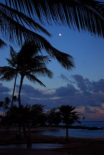 moon over Kauai stock photo
