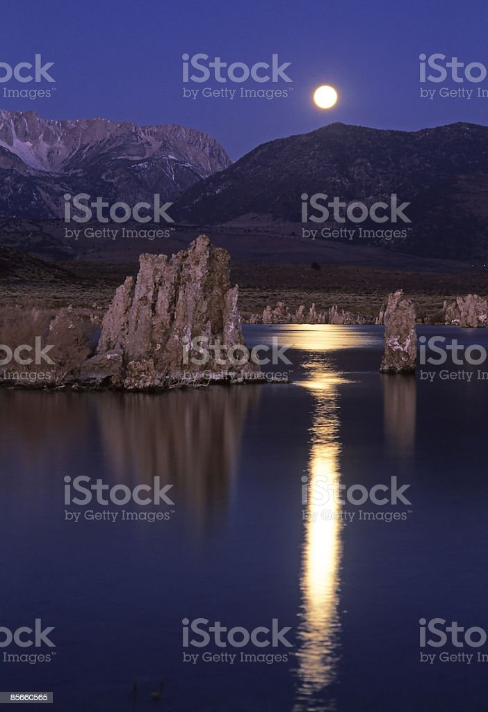 Moon over mountains and lake. royalty-free stock photo