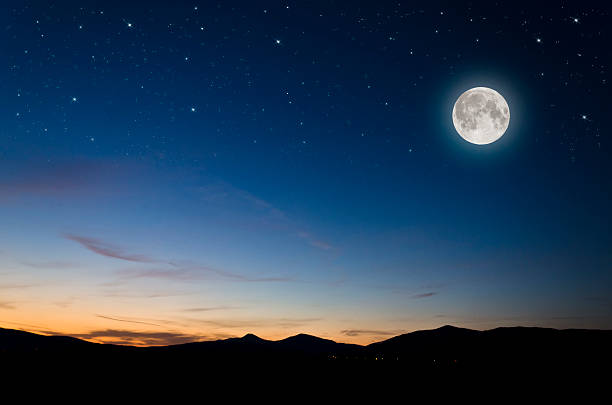 moon over mountains - moon stockfoto's en -beelden
