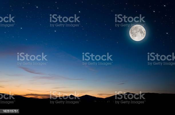 Photo of moon over mountains