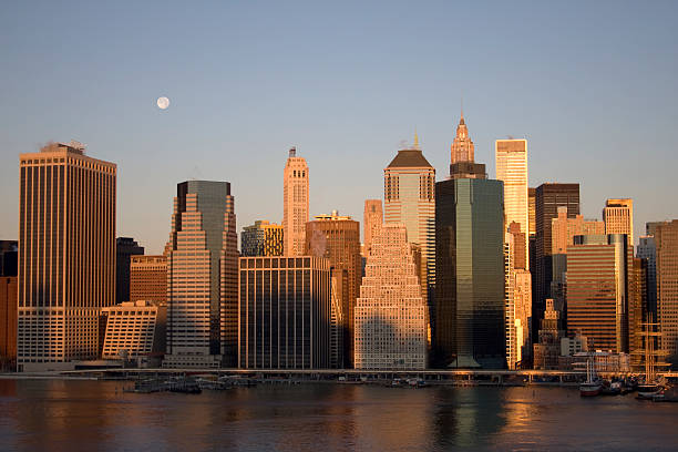 Moon Over NYC  south street seaport stock pictures, royalty-free photos & images