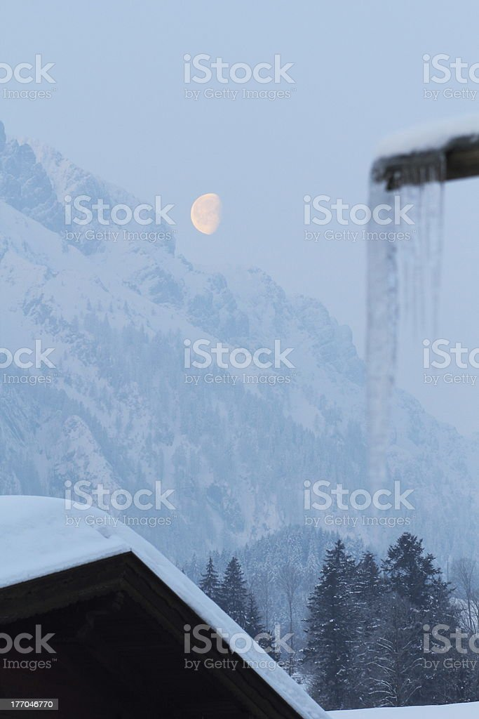 moon over the mountains royalty-free stock photo