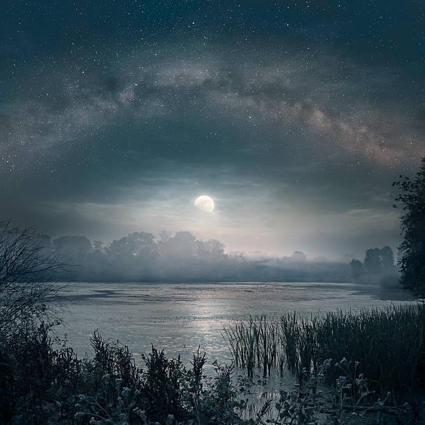moon over the pond - teichfiguren stock-fotos und bilder