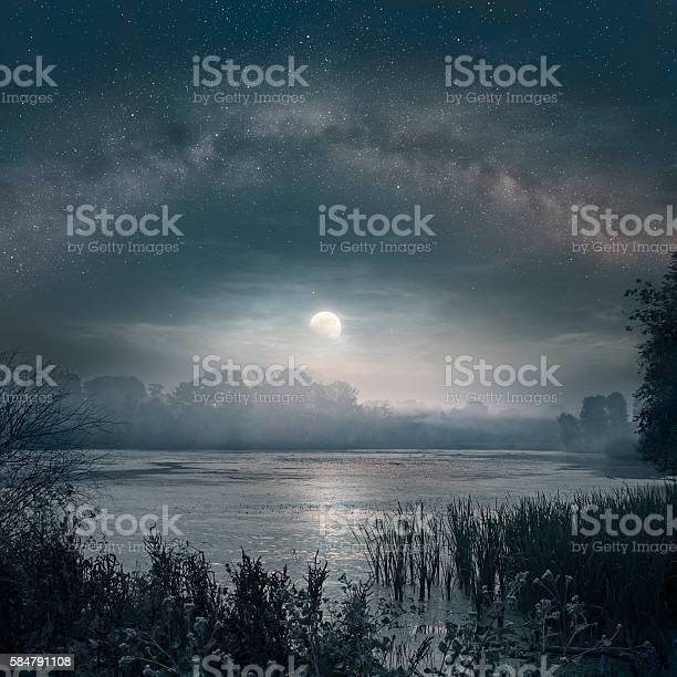 Photo of Moon over the pond
