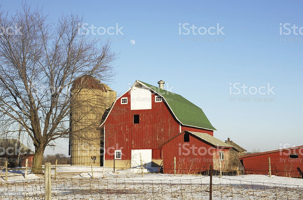 Moon Over the Red Barn royalty-free stock photo