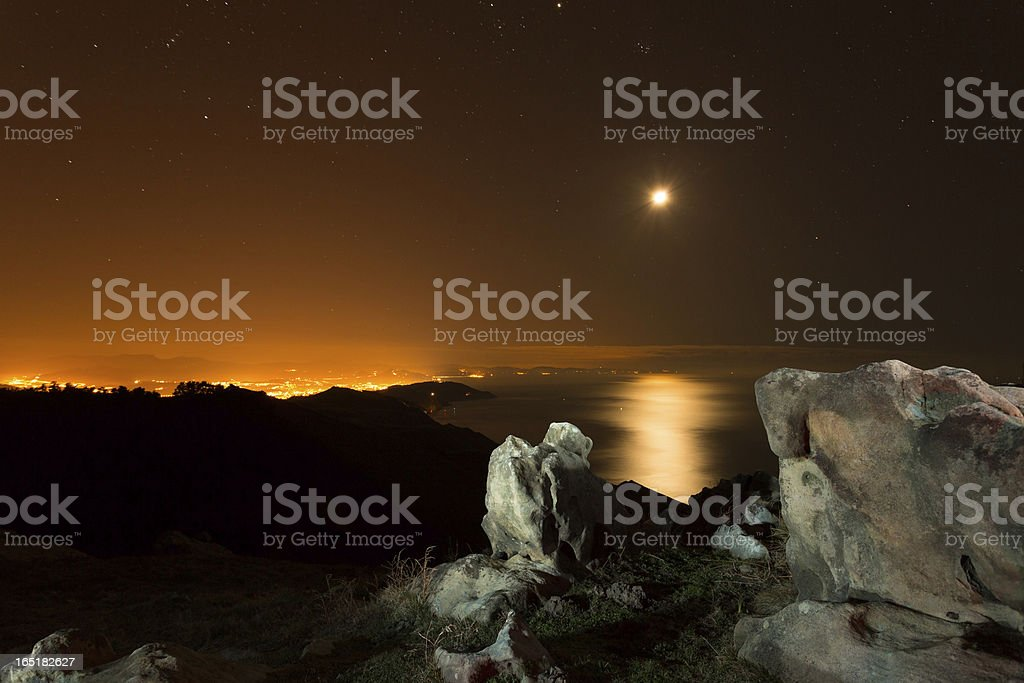 Moon over the sea royalty-free stock photo