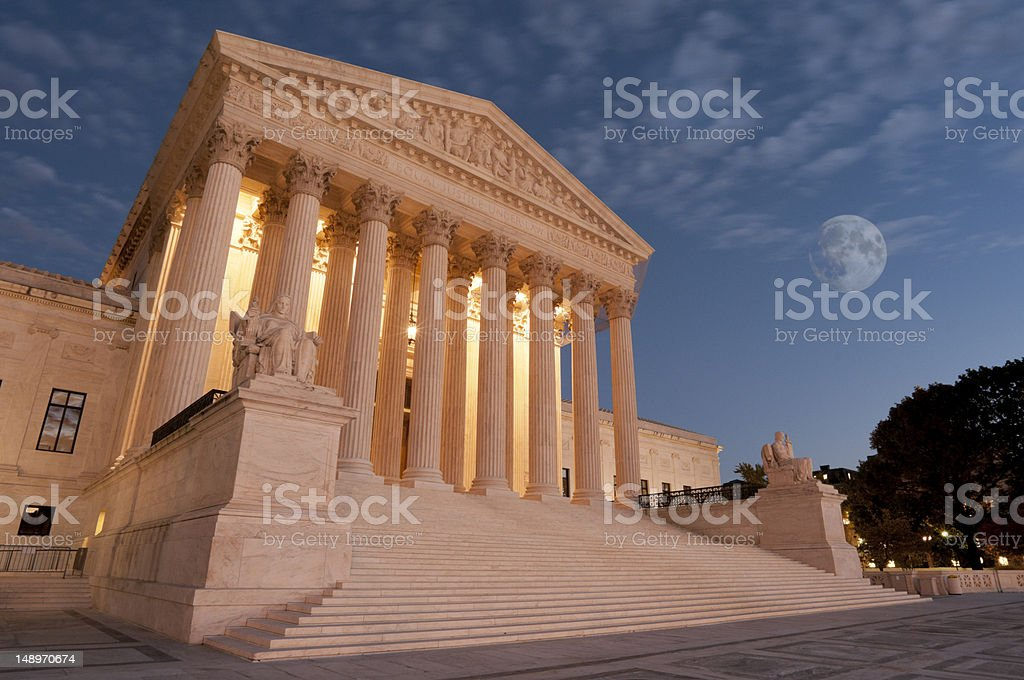 Moon over US Supreme Court stock photo