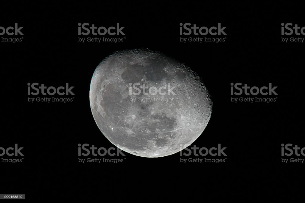 Moon phases, craters on the moon stock photo