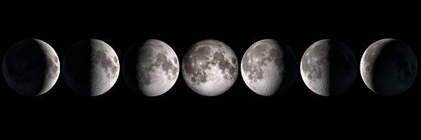fasi di luna, elementi di questa immagine fornita dalla nasa sono - luna gibbosa foto e immagini stock