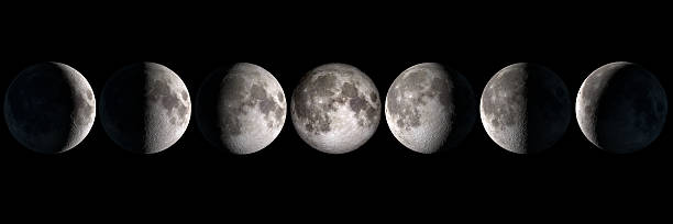 moon phases, elements of this image are provided by nasa - bisiklet stok fotoğraflar ve resimler