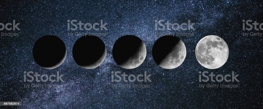 Moon phases. growing New moon stock photo