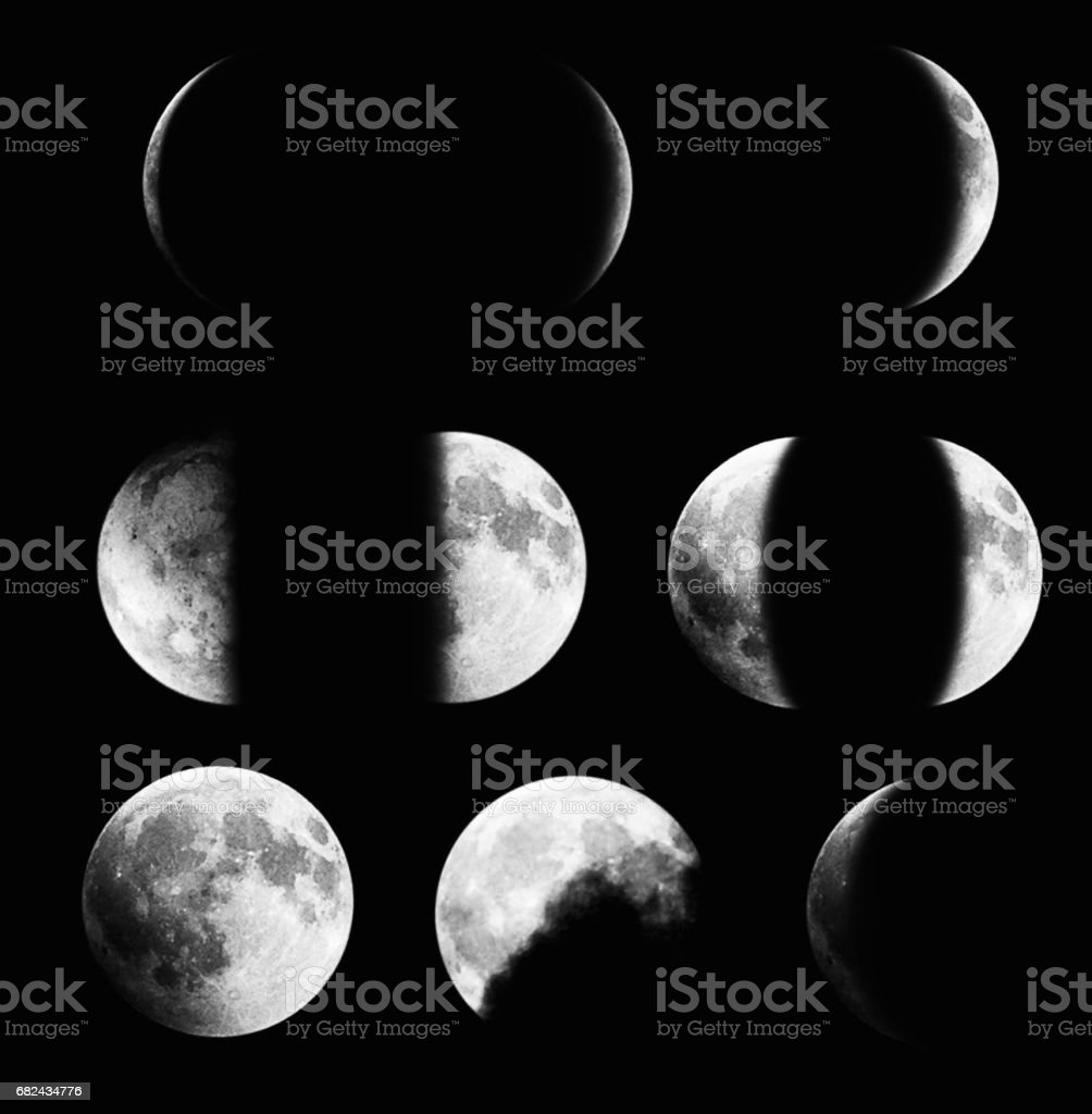 Moon phases on black background royalty-free stock photo