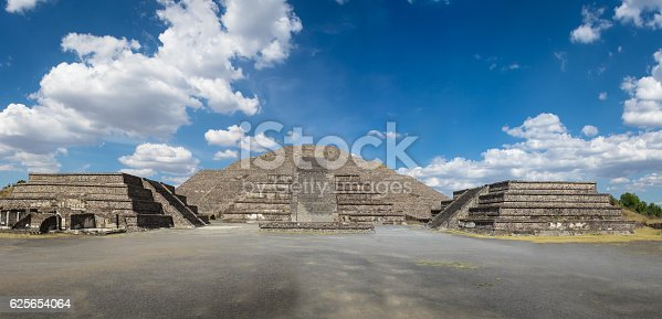 Dead Avenue and Moon Pyramid at Teotihuacan Ruins - Mexico City, Mexico