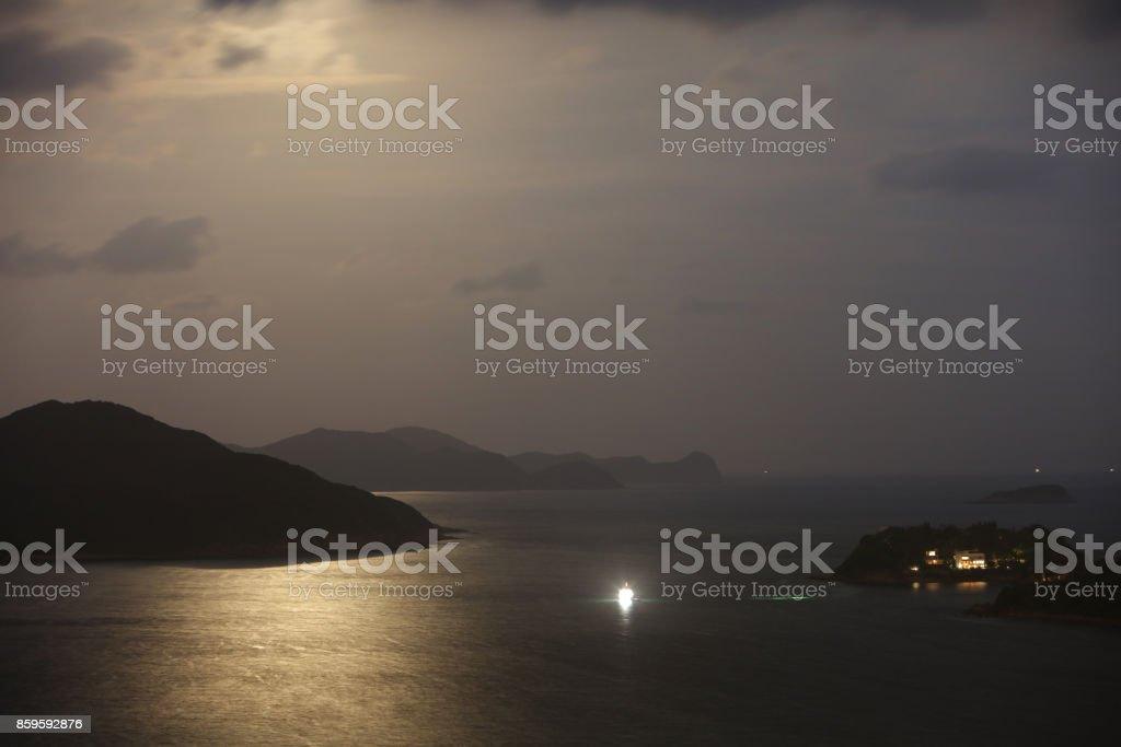 moon raise of Silverstrand at  Port Shelter stock photo