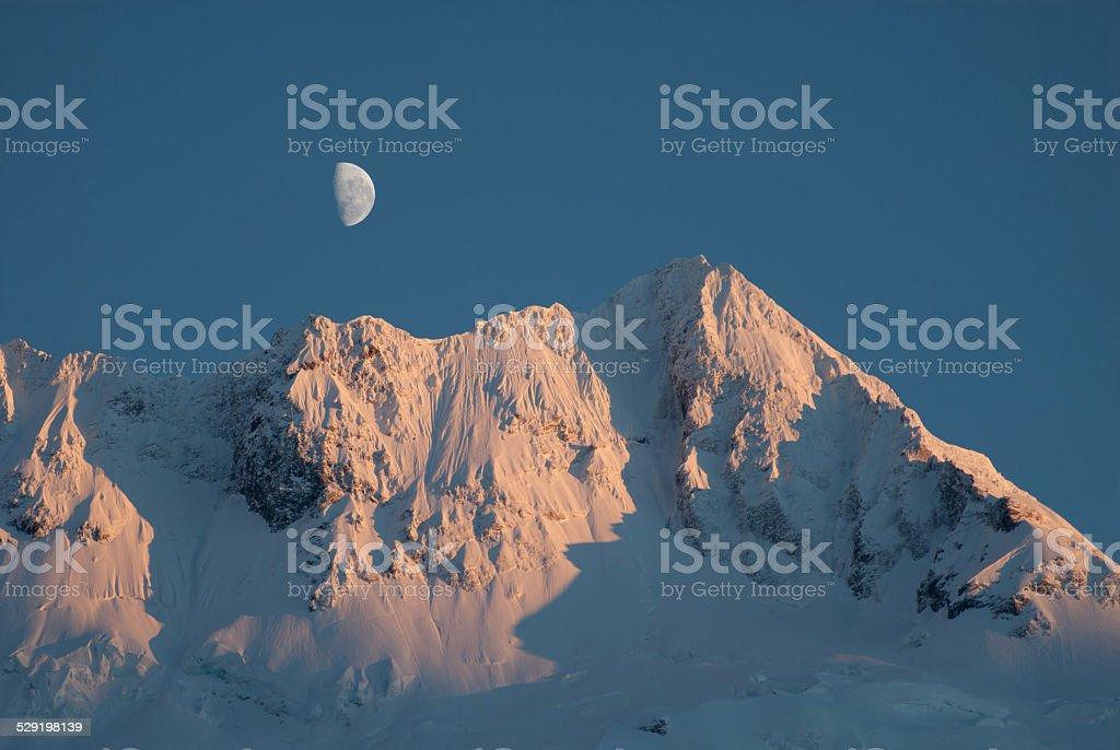 Moon Rise Over Mt Sefton, New Zealand stock photo