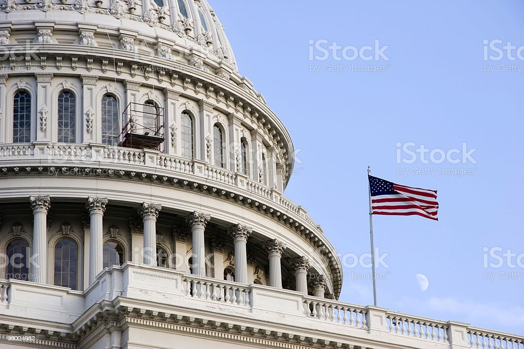 Moon Rising on U.S. Capitol royalty-free stock photo