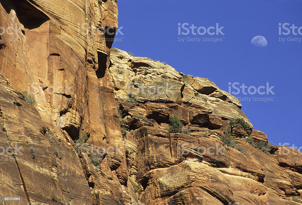 Moon Rising Over Zion National Park stock photo