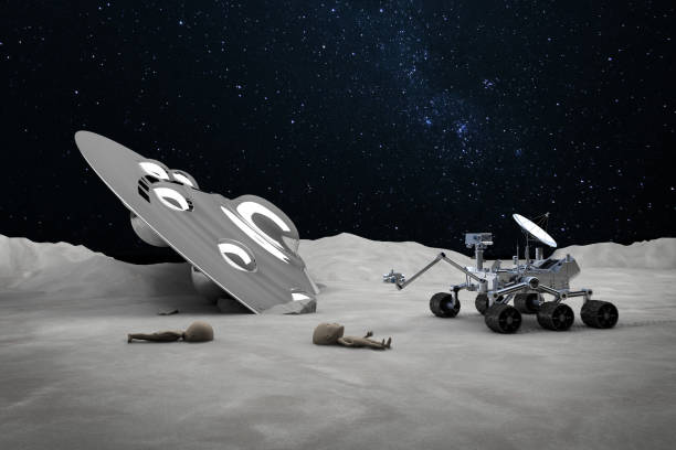 Moon Rover Finding Dead Aliens and Crashed Ufo New Conspiracy Theory: The most unusual UFO story since Roswell incident. The UFO crashed to Mars ground. Aliens from the vehicle found dead around the spaceship. rover stock pictures, royalty-free photos & images