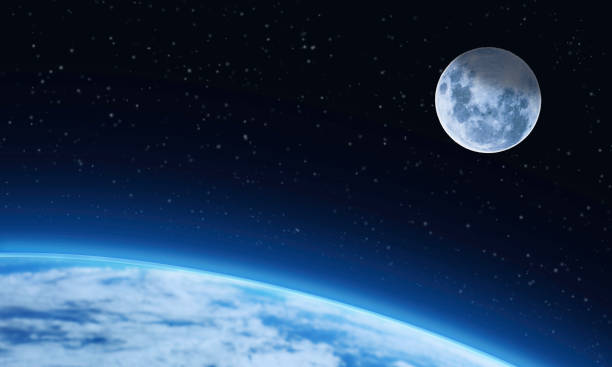 Moon Stars and Planet Earth - Outer Space Background  - Starry Night Sky - Silence Serenity stock photo