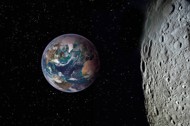 Moon surface and Earth on the horizon. Space art fantasy. Elements of this image furnished by NASA stock photo