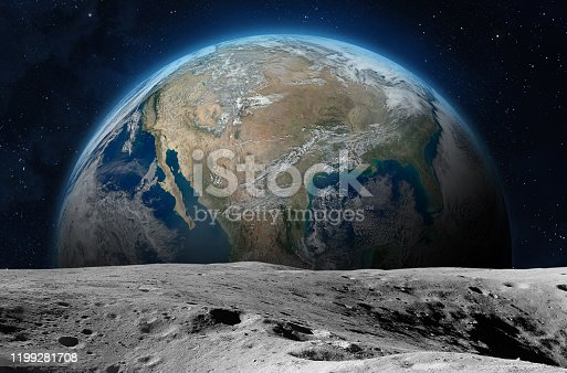 View on the planet Earth from the Moon surface. Elements of this image are furnished by NASA