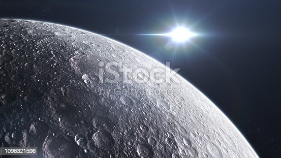 Moon seen from space. CG graphics created using VC ORB and Optical Flares plugin AF Adoby. Texture map used from: https://www.solarsystemscope.com/textures/download/8k_moon.jpg