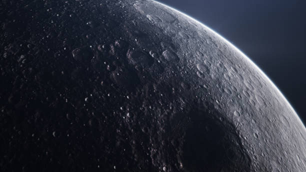 Moon surface seen from space. stock photo