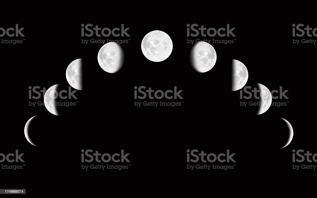 Moon surface with different phases royalty-free stock photo