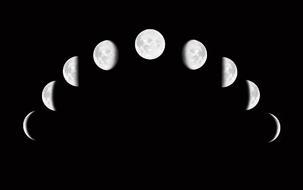 Moon surface with different phases stock photo