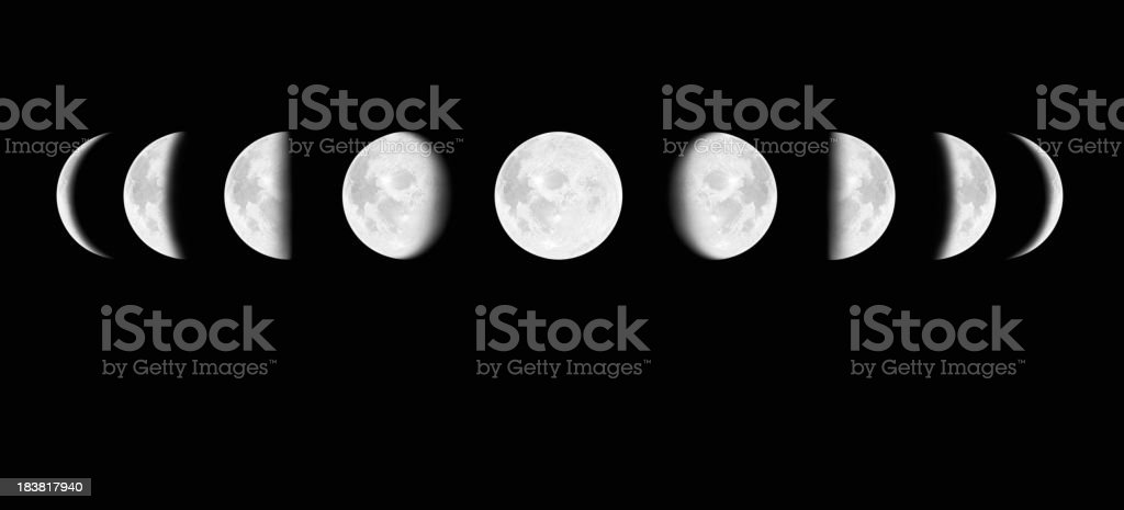 Moon surface with different phases XXXL royalty-free stock photo
