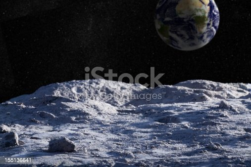 Moon surface with distant Earth and starfield