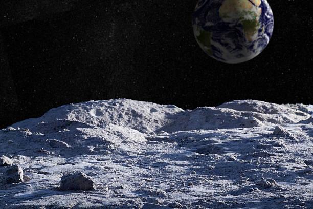 paesaggio lunare con starfield terra e distante - esplorazione spaziale foto e immagini stock