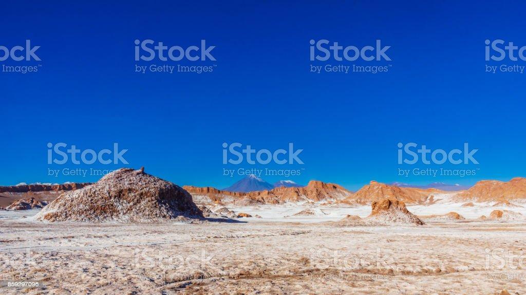 Moon Valley and volcano Licancabur by San Pedro de Atacama in Chile stock photo
