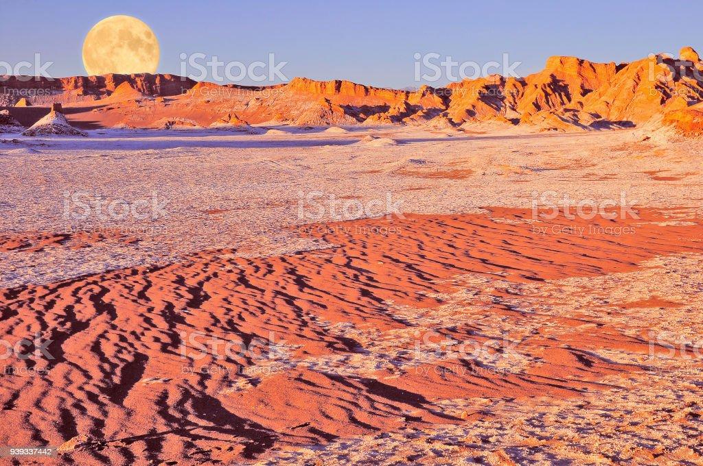 Moon valley in Atacama desert at sunset time, stock photo