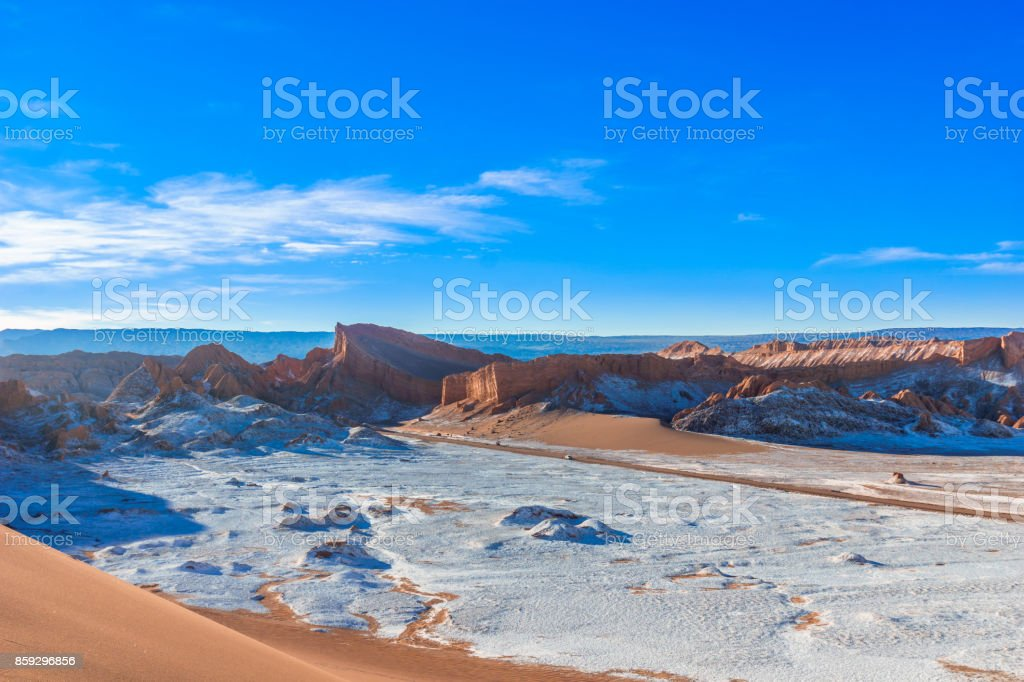 Moon Valley salt lake dessert by San Pedro de Atacama in Chile stock photo