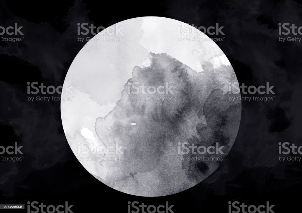 Moon watercolor paint stock photo
