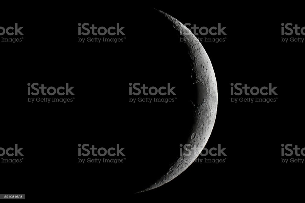 Moon waxing crescent. Young Moon. stock photo