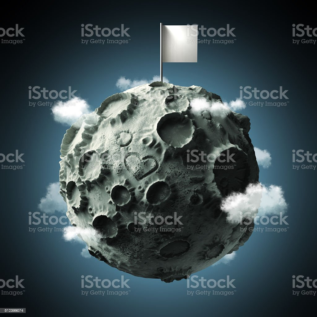 Moon with craters heart scratched surface and blank flag on stock photo