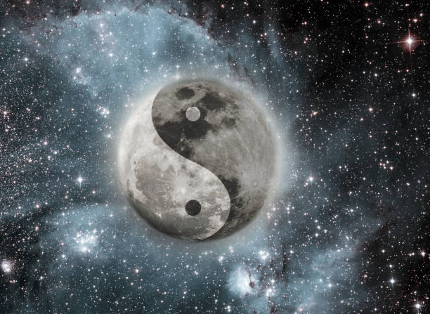 moon with the sign of the yin and yang - yin yang symbol stock pictures, royalty-free photos & images
