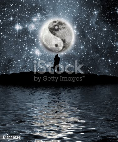 istock Moon with the sign of the yin and yang 815221934