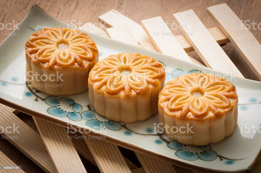 mooncake , traditional chinese foods during mid autumn festival stock photo