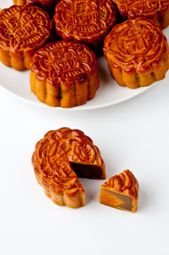Mooncake With A Section Removed Stock Photo - Download Image Now