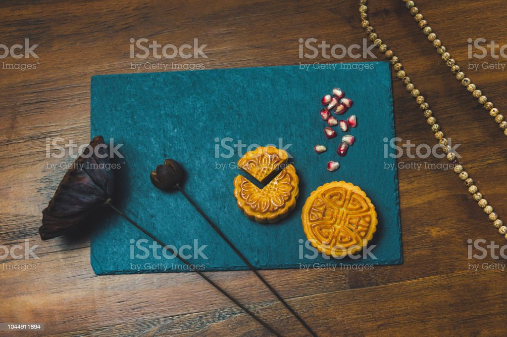 Mooncakes on table stock photo