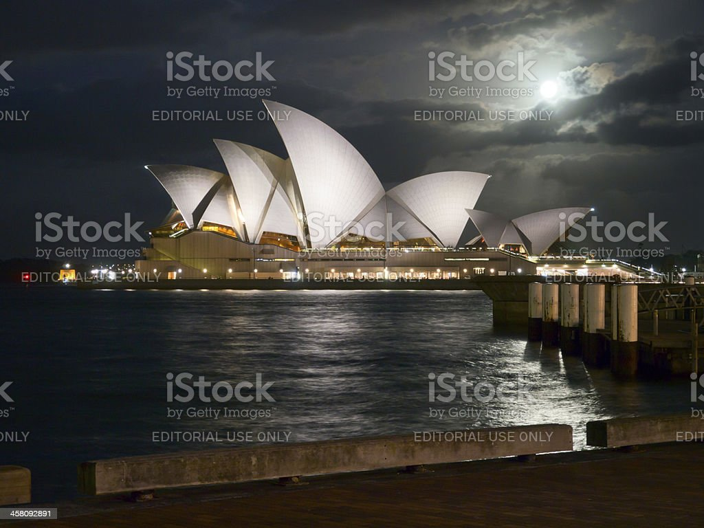 Moonlight and the Opera House royalty-free stock photo