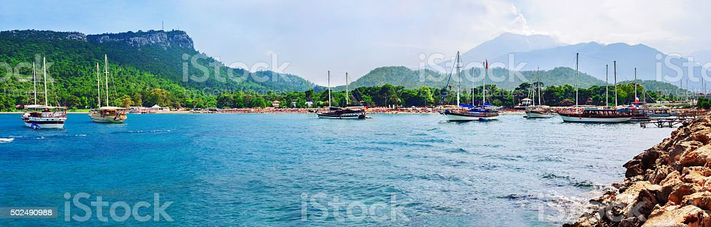 Moonlight beach at Kemer, Antalya, Turkey stock photo